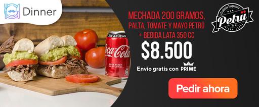 Mechada 200 gramos, palta, tomate y mayo petrü + bebida lata 350cc $8.500