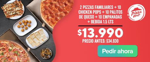 Pizza Hut combo 2 Pizzas + 3 acompañamientos + coca cola