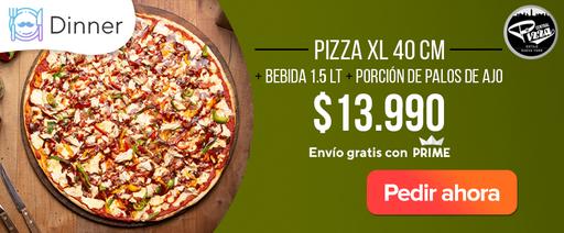 Pizza XL 40CM + bebida 1.5lt + porción de palos de ajo