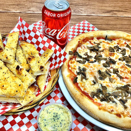 Combo individual - Pizza personal (26cm) + palitos de ajo + bebi