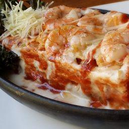 Lasagna Gamberini (Lasaña Camarones)