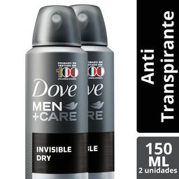 Desodorante Dove Men Invisible Aerosol 89 g x 2Un