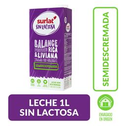 Leche Surlat semidescremada y sin Lactosa, Caja 1 l
