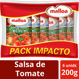 Malloa, Salsa de Tomate Italiana, 6 Unid, 200 g c/u