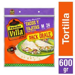 Pack Orale Tortillas Tamaño M Pancho Villa 24Un 600g