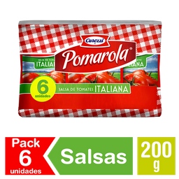 Pomarola Salsa De Tomate Italiana Pack De 6