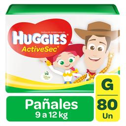 Pañal Huggies Active Sec Grande 9 a 12.5 Kilos