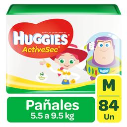 Pañal Huggies ActiveSec Mediano 5.5 a 9.5 Kilos x 84