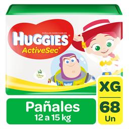 Pañal Huggies Active Sec Xg 68Un