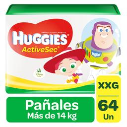 Pañal Huggies Active Sec XXG 64 U