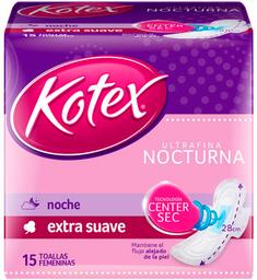 Toalla Femenina Kotex Ultrafina Nocturna Con Alas 15 Unidades