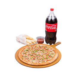 Pizza 5 Ingredientes +Bebida 2,5L+ Caesars Bread + Crazy Sauce