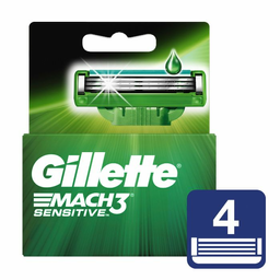 Cartuchos Para Afeitar Gillette Mach3 Sensitve 4Un
