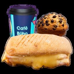 Sándwich Pan Italiano Jamón Queso + Café Americano + Muffin
