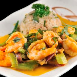 Camarones Thai Al Curry y Piña