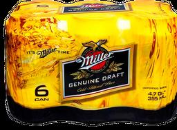 Cerveza Miller Sixpack Lata 355mL