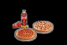 2 Pizzas Familiares hasta 3 ing. + Bebida + acomp