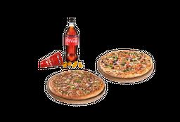 2 Pizzas Familiares de especialidad + bebida + acom.