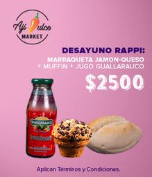 Desayuno Rappi.  Marraqueta, muffin y jugo