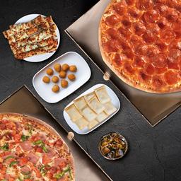 2 Pizzas Familiares + 3 Acom. + Bebida