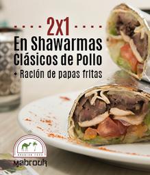 2x1 Shawarmas Clásicos de Pollo + Ración de Papas Fritas