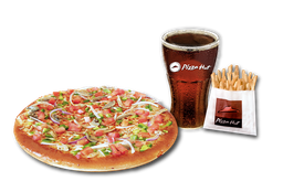 Pizza Veggie Lovers Individual + Papas Medianas + Bebida 220 cc