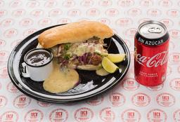 Sandwich Super Cerdo (Torta Mexicana) + Salsa Negra + Bebida