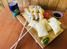 Roll Tempura, Empanaditas y Jugo