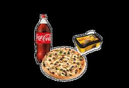 Pizza Grande Bebida Postre Helado