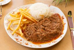 Carne Maluca Con Arroz Y Papas Fritas