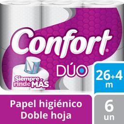 Papel Higiénico Confort Dúo Doble Hoja 30 Metros 6 U