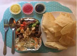 Carne Chitén con Arroz Chaufán + Wantan Frito