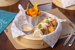 3 Bao Pescado + Chips de Camote