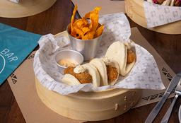 3 Bao Zapallo y Queso Azul + Chips de Camote