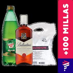 Ballantines Finest 750cc + Ginger Ale 1.5L + Hielo de regalo
