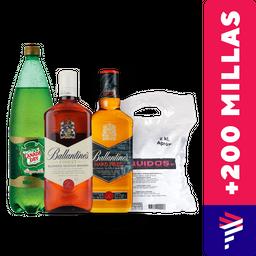 Pack 2 Ballantines 750cc + Ginger Ale 1.5L + Hielo de regalo