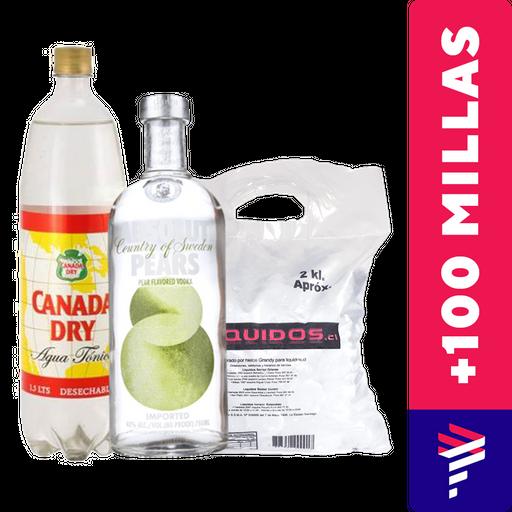 Absolut Pera 750ml + Agua Tónica 1.5L + Hielo de regalo