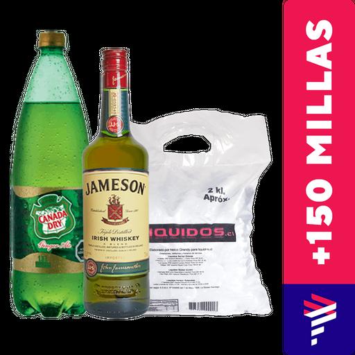Jameson Whiskey 750ml + Ginger Ale 1.5L + Hielo de regalo