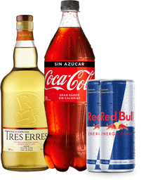 Promo: Pisco Tres Erres 1L + Coca Cola 1,5L + 2x Redbull 250mL