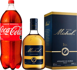 Pisco Mistral 35° 1L + Coca Cola 3L Variedades