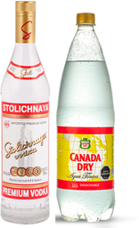 Vodka Stolichnaya 750mL + Canada Dry Tónica 1,5L
