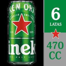6x Cerveza Heineken lata 470cc