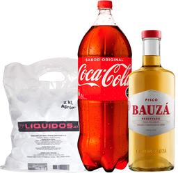 Pisco Bauzá 40° 1L + Coca Cola 3L + Hielo 2Kg