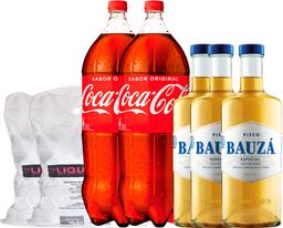 Promo 3 Pisco Bauzá 35° 1L + 2 Coca Cola 3L + 2x Hielo 2Kg