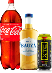 Pisco Bauzá 35° 1L + Coca Cola 3L + XTC Energy Drink 500mL