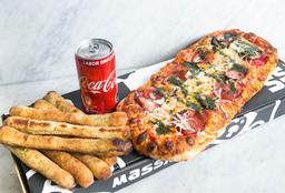 Elige tu pizza + palitos de ajo + bebida