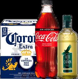 Pisco Alto 0,75L + Cola Cola 1,5L + Cerveza Corona 12-Pack 355cc