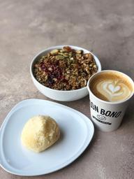 Café  + granola Don Bono + pan de bono