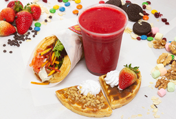 Smoked salmon + degustación waffles dulces + smoothie  330ml