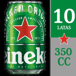 10x Cerveza Heineken Lata 5° Gl 350cc